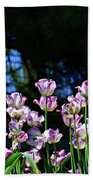 Purple And White Tulips - Photopainting Beach Towel