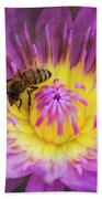 Purple And Yellow Lotus With A Bee Textured Beach Towel