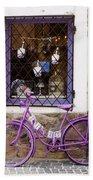 Purple Bicycle Beach Towel