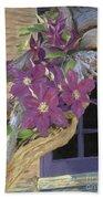Purple Clematis Beach Towel
