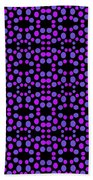 Purple Dots Pattern On Black Beach Towel