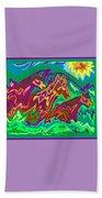 Purple Feathered Horses Beach Towel
