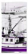 Purple Fishing Boat Beach Towel