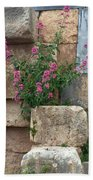 Purple Flowers In Ruins Beach Towel