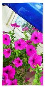 Purple Flowers On White Window 2 Beach Towel