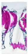 Purple Friesian Holstein Cows Drawing Beach Towel