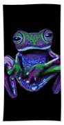 Purple Green Ghost Frog Beach Towel