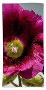 Purple Hollyhock Beach Towel