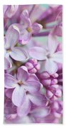 Purple Lilacs With Text Beach Towel