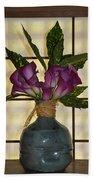 Purple Lilies In Japanese Vase Beach Towel