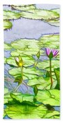 Purple Lotus Flower  Beach Towel