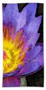 Purple Lotus Flower - Zen Art Painting Beach Towel