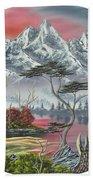 Purple Mountain Lake Beach Towel