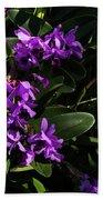 Purple Orchid Plant Beach Towel