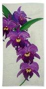 Purple Orchids Beach Towel