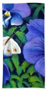 Purple Pansies And White Moth Beach Towel