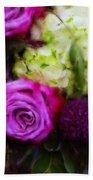Purple Roses With Hydrangea Beach Towel