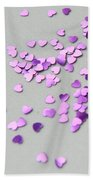 Purple Scattered Hearts I Beach Towel