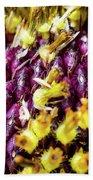 Purple Sunflower Seeds Beach Towel