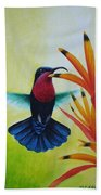 Purple-throated Carib And Bird Of Paradise Beach Towel