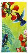 Purple-throated Caribs And Flamboyant Beach Towel