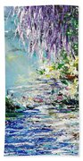 Purple Tree By The Lake Beach Towel
