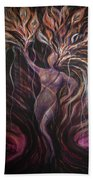 Purple Tree Goddess Beach Towel