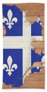 Quebec Rustic Map On Wood Beach Towel