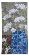 Queen Anne's Lace In Blue Vase Beach Towel