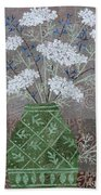 Queen Anne's Lace In Green Vase Beach Towel