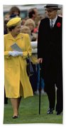 Queen Elizabeth Inspects The Horses Beach Towel