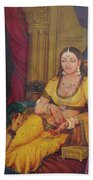 Queen Princess Sitting  Dressing From Her Maids Kaneej  Royal Art Oil Painting On Canvas Beach Towel