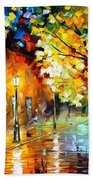 Quiet Corner-garden On The Stones - Palette Knife Oil Painting On Canvas By Leonid Afremov Beach Towel
