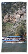 Quintessentially Dalyan River Boats And Rock Tombs Beach Towel