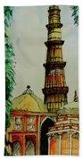 Qutab Minar Of India, Monument Of India Beach Towel