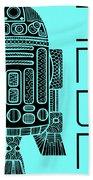 R2d2 - Star Wars Art - Blue Beach Towel