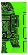 R2d2 - Star Wars Art - Green Beach Towel