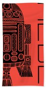 R2d2 - Star Wars Art - Red Beach Towel