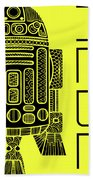 R2d2 - Star Wars Art - Yellow Beach Towel