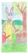 Rabbit Gardening In The Kitchen Garden Beach Towel