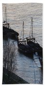 Rabelo Boats On Douro River In Portugal Beach Towel