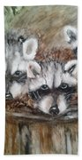 Raccoon Babies By Christine Lites Beach Towel by Allen Sheffield