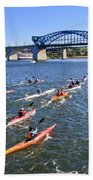Race On The River Beach Towel by Tom and Pat Cory