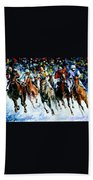 Race On The Snow Beach Towel