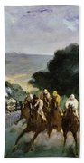 Races At Longchamp Beach Towel by Edouard Manet
