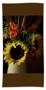 Radiant Sunflowers And Peruvian Lilies Beach Towel