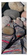Rag Rugs With Stones And The Dock 3 Beach Towel