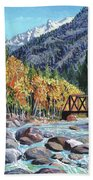 Rail Bridge At Cascade Beach Towel