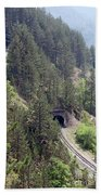 Railroad And Tunnels On Mountain Beach Towel