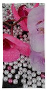 Rain On Orchids Beach Towel